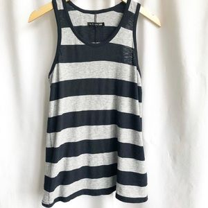Rag & Bone  black & grey stripe racer tank